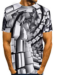 cheap -Men's T shirt 3D Print Graphic 3D 3D Print Short Sleeve Daily Tops Basic Casual Black / White