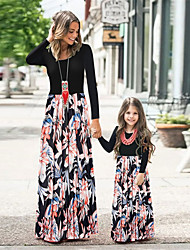 cheap -Family Look Dress Graphic Print Black Long Sleeve Maxi Matching Outfits