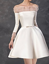 cheap -A-Line Minimalist Elegant Homecoming Cocktail Party Dress Off Shoulder Long Sleeve Short / Mini Satin with Pleats Lace Insert 2021