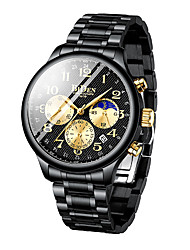 cheap -BIDEN Men's Steel Band Watches Analog Quartz Classic Calendar / date / day Stopwatch Noctilucent / One Year / Stainless Steel / Japanese