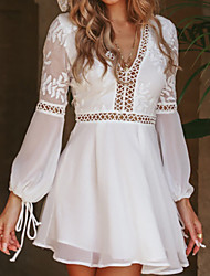 cheap -Women's A Line Dress Short Mini Dress White Long Sleeve Solid Color Backless Layered Hollow To Waist Summer V Neck Elegant 2021 S M L XL