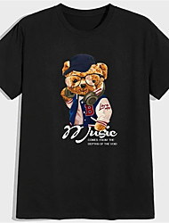 cheap -Men's Unisex T shirt Hot Stamping Graphic Prints Toy Bear Plus Size Print Short Sleeve Daily Tops 100% Cotton Basic Fashion Classic Black