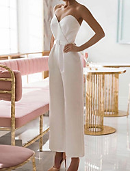 cheap -Jumpsuits Wedding Dresses Sweetheart Neckline Ankle Length Stretch Satin Sleeveless Simple Casual Elegant with Sashes / Ribbons 2021