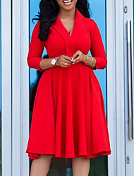 cheap -Women's Plus Size Dress A Line Dress Knee Length Dress 3/4 Length Sleeve Solid Color Ruched Casual Spring &  Fall Red L XL XXL 3XL