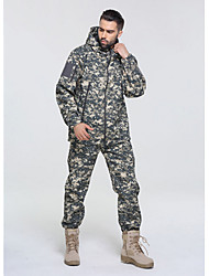cheap -Men's Hunting Jacket with Pants Outdoor Waterproof Ventilation Wearproof Fall Spring Camo / Camouflage Polyester Camouflage Color Jungle camouflage Black