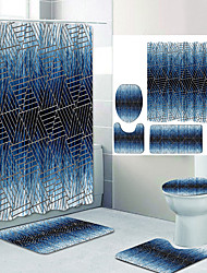 cheap -Simple Series 12 Digital Printing Four-piece Set Shower Curtains and Hooks Modern Polyester Machine Made Waterproof Bathroom