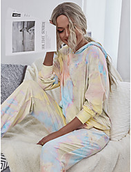 cheap -Women's Basic Tie Dye Two Piece Set Hoodie Tracksuit Set Pant Loungewear Patchwork Print Tops