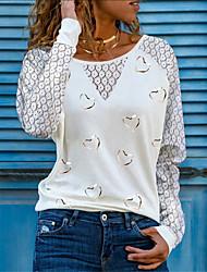 cheap -Women's T shirt Heart Long Sleeve Lace Round Neck Tops Basic Basic Top White