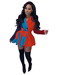 cheap -Women's Sheath Dress Short Mini Dress Yellow Dark Green Orange Black Red Long Sleeve Pattern Spring & Summer Casual 2021 S M L XL XXL