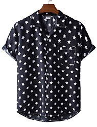 cheap -Men's Shirt Other Prints Star Print Short Sleeve Casual Tops Beach Tropical Black / White