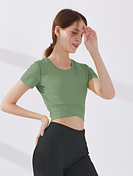 cheap -Women's Short Sleeve Running Shirt Tee Tshirt Top Athletic Summer Quick Dry Breathable Soft Gym Workout Running Active Training Jogging Exercise Sportswear Solid Colored Dark Grey Turf Green Jade
