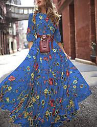 cheap -Women's Swing Dress Maxi long Dress White Blue Green 3/4 Length Sleeve Print Patchwork Print Summer Round Neck Elegant vacation dresses Puff Sleeve 2021 S M L XL XXL