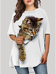 cheap -Women's Plus Size Dress T Shirt Dress Tee Dress Short Mini Dress Half Sleeve Cat Graphic 3D Print Casual Fall Spring Summer White Black Blue XL XXL 3XL 4XL 5XL