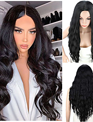 cheap -Women's Long Curly Hair Synthetic Wig Natural Black  Middle Part Wigs Heat Resistant Fiber 28 Inch