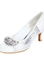 cheap -Women's Wedding Shoes Kitten Heel Round Toe Wedding Pumps Lace Rhinestone Floral White Black Pink