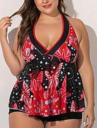 cheap -Women's Tankini Swimsuit Geometric Red Swimwear Bathing Suits