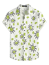 cheap -Men's Shirt Floral Short Sleeve Daily Tops 100% Cotton Basic Boho Green / White