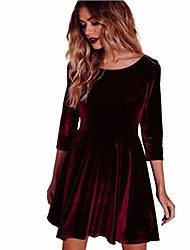 cheap -Women's Sheath Dress Knee Length Dress Wine Gray Black Red Dark Blue Long Sleeve Solid Color Spring Party Slim 2021 S M L XL XXL
