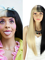 cheap -Straight Synthetic Wigs with Bang Black and Gold Color Cosplay Heat Resisant Fiber Women's Wig