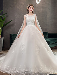 cheap -Princess Ball Gown Wedding Dresses Jewel Neck Chapel Train Lace Tulle Sleeveless Formal Luxurious with Appliques 2021