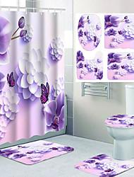 cheap -Purple Flower Butterfly Pattern Printing Bathroom Shower Curtain Leisure Toilet Four-piece Design