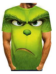 cheap -Men's Tee T shirt 3D Print Graphic Prints Animal Short Sleeve Casual Tops Cartoon Big and Tall Purple Green Light Green