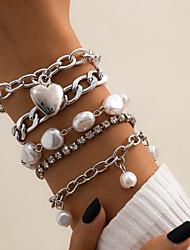 cheap -5pcs Women's White Cubic Zirconia Chain Bracelet Bracelet Bangles Vintage Bracelet Geometrical Vertical / Gold bar Simple Fashion Vintage Punk Trendy Rhinestone Bracelet Jewelry Gold / Silver For