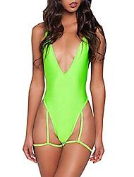 cheap -women deep v neck sexy garter belt bikinis cross bandage on back one piece swimsuit swimwear (x-large, fluorescent green)
