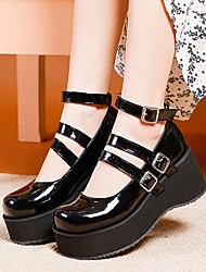 cheap -Women's Flats Wedge Heel Round Toe Casual Preppy Sweet Daily Party & Evening Patent Leather Buckle Solid Colored White Black Red