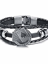 cheap -mainbead men's multilayer poker leather rope cuff bangle wristband friendship vintage biker playing card poker leather bracelet jewelry
