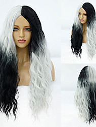 cheap -Synthetic Wig Deep Wave Middle Part Wig Medium Length A15 A16 A17 A18 A10 Synthetic Hair Women's Cosplay Party Fashion White Gray