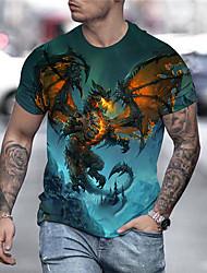 cheap -Men's T shirt Graphic Print Short Sleeve Daily Tops Streetwear Exaggerated Blue Orange Rainbow