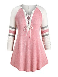 cheap -Women's Plus Size Tops Blouse Drawstring Striped Color Block Large Size V Neck Long Sleeve Streetwear Big Size L XL XXL 3XL 4XL Blue Blushing Pink Gray