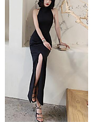 cheap -Sheath / Column Beautiful Back Sexy Prom Formal Evening Dress Halter Neck Sleeveless Ankle Length Satin with Bow(s) Split 2021