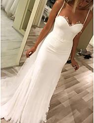 cheap -Sheath / Column Wedding Dresses Spaghetti Strap Court Train Chiffon Sleeveless Beach with Lace 2021