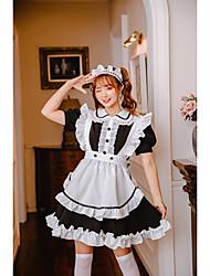 preiswerte -Lolita Hausmädchenuniform nette Art Kleid Dienstmädchenuniform Damen Japanisch Cosplay Kostüme Schwarz Solide Kurzarm Über dem Knie / Schürze