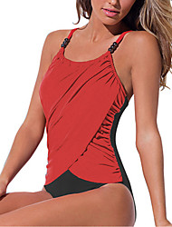 cheap -Women's One Piece Swimsuit Color Block Blue Blushing Pink Red Normal Swimwear Bathing Suits