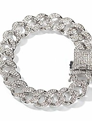 """cheap -13mm Cuban Link Chain for Mens Women Heavy Strong Bracelets Chain Iced Out Miami Curb Chain Bling Bling Hip Hop Bracelet Chain Silver Plated Rhinestone CZ Clasp Jewelry Choker Strong Chain Bracelet 8"""""""