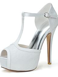 cheap -Women's Wedding Shoes Stiletto Heel Peep Toe Wedding Sandals Lace Floral White Pink Royal Blue