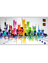 cheap -Mintura Hand-Painted Knife Color City Oil Painting On Canvas Modern Abstract Wall Picture Large Size Art For Home Decoration (Rolled Canvas without Frame)