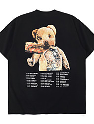 cheap -Men's Unisex T shirt Hot Stamping Graphic Prints Bear Plus Size Print Short Sleeve Casual Tops 100% Cotton Basic Casual Fashion White Black