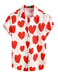 cheap -Men's Shirt Floral Short Sleeve Daily Tops 100% Cotton Basic Boho Red / White