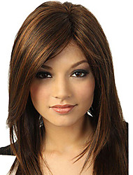 cheap -Synthetic Wig Natural Straight Asymmetrical Side Part Wig Medium Length Black / Brown Kanekalon Women's Cosplay Party Fashion Black Brown