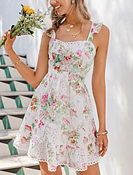 cheap -envemour women's summer floral print spaghetti strap mini dress backless short swing dress pink small