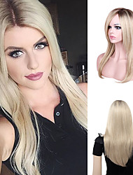 cheap -Natural Straight Mid-length Gradient Color Wig Synthetic Wig Chemical Fiber Wig Mechanism Female Headgear