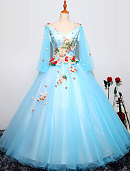 cheap -Ball Gown Luxurious Floral Quinceanera Prom Dress V Neck Long Sleeve Floor Length Tulle with Pleats Embroidery 2021