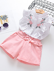 cheap -Kids Girls' Clothing Set Sleeveless White Floral Print Active Basic