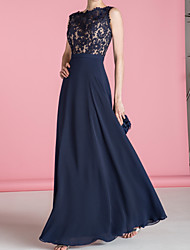 cheap -A-Line Jewel Neck Floor Length Chiffon / Lace Bridesmaid Dress with Appliques