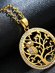 cheap -Women's Pendant Necklace Charm Necklace Retro Owl Tree of Life Fashion Zircon Gold Plated Alloy Gold Silver 55 cm Necklace Jewelry 1pc For Christmas Wedding Halloween Party Evening Street