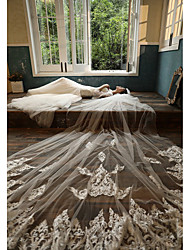 cheap -Two-tier Sweet Style Wedding Veil Cathedral Veils with Embroidery 118.11 in (300cm) Lace
